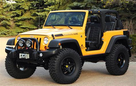 old yellow jeep yellow 2 door lifted rubicon jeep wrangler no top with a