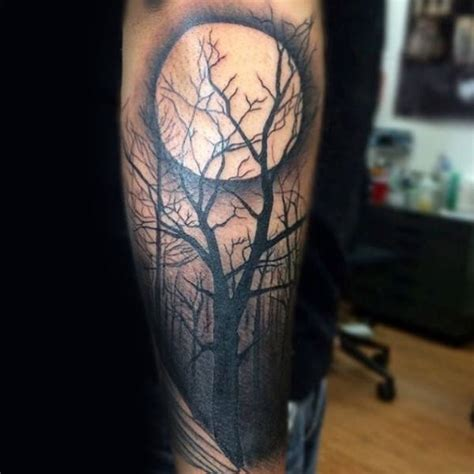 moon and tree tattoo 75 tree sleeve designs for ink ideas with