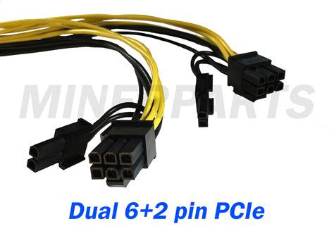 Pcie Power Splitter 8 Pin To Dual 6 2 Pin 25 Cm 6 pin pcie splitter to dual 8 pin 6 2 pin pcie y cable