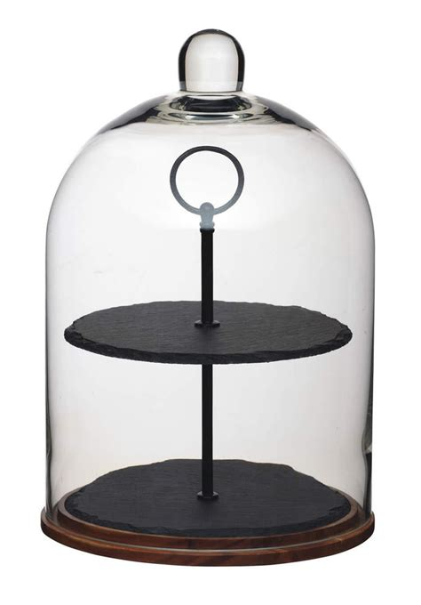 etagere nachtmann artesa 2 tier wood slate glass dome cake centrepiece