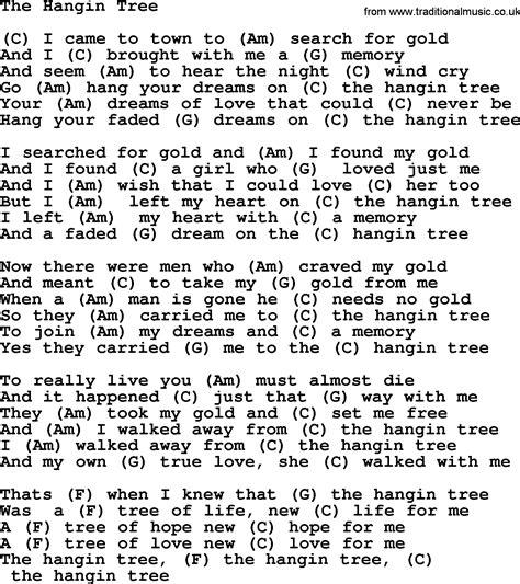 hangin tree the hangin tree by marty robbins lyrics and chords