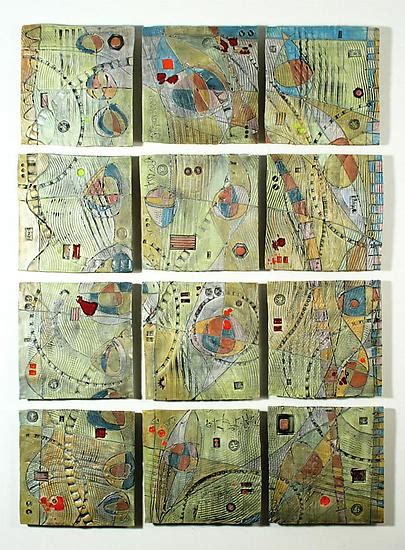 abstract space hills  tile wall piece  janine sopp