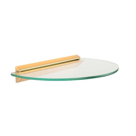 Circle Shelf by Knape Vogt 8 In X 12 In Brass Glass Semi Circle