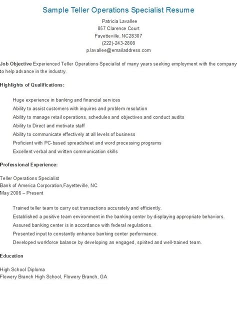 Teller Operations Specialist Sle Resume by 17 Best Images About Resame On Skin Care Specialist Supply Management And