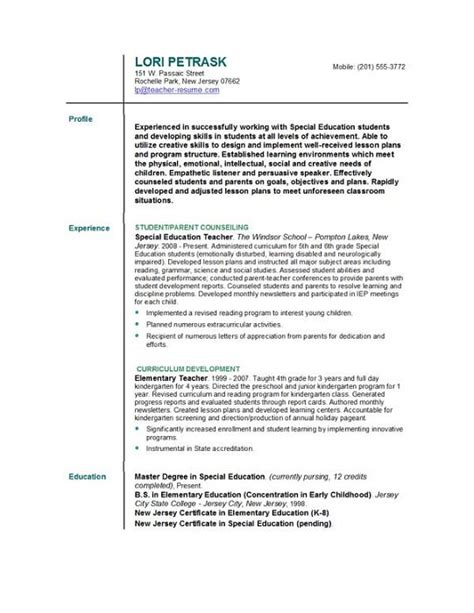 Resume Sample For Teacher by Resume Format For Teacher Images