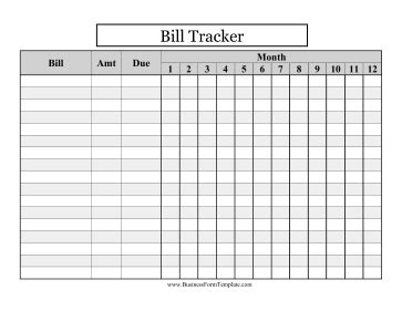 Large Print Bill Tracker Template Bill Tracker Template