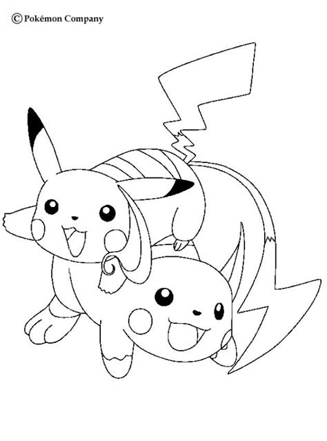 pokemon coloring pages hellokids coloriages raichu et pikachu fr hellokids com