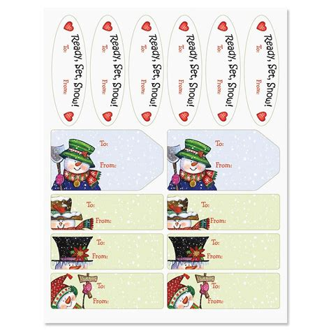 Label Snowman snowman in squares gift tags current catalog