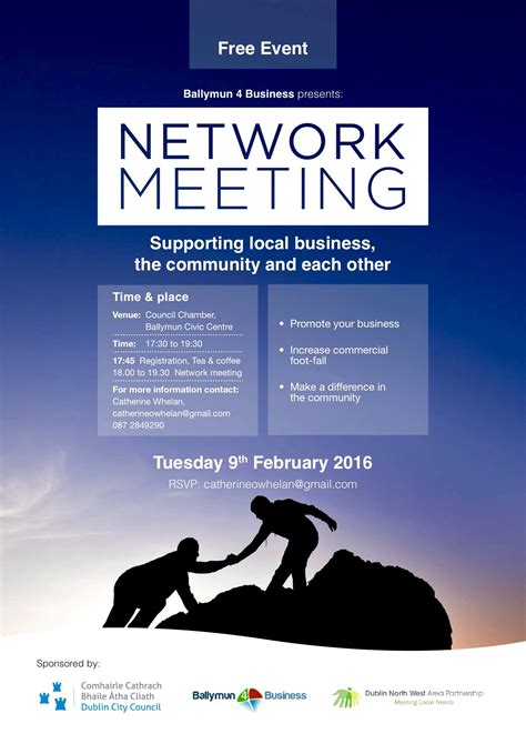 Ballymun 4business Invitation Dublin North West Area Partnership Meeting Poster Template