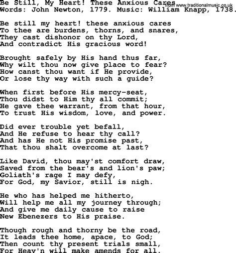 my lyrics newton be still my these anxious cares by newton