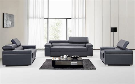 Modern Sofas Sets Contemporary Grey Italian Leather Sofa Set With Adjustable Headrest San Diego California J M Soho
