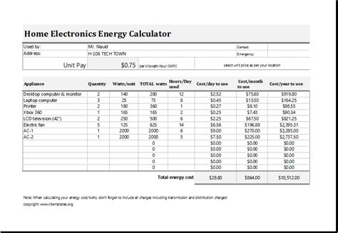 Free Remodeling Software electric energy cost calculator template for excel excel