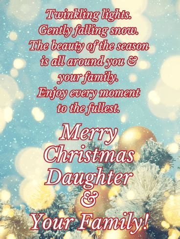 beautiful card  bring happiness   special daughter   holiday season golden