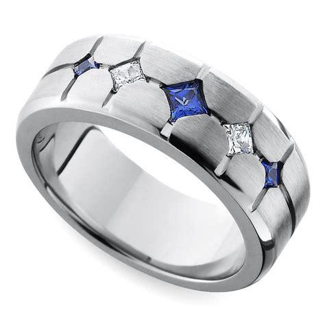 Cross Cut Satin Sapphire And Diamond  Ee  Mens Ee    Ee  Wedding Ee   Ring In