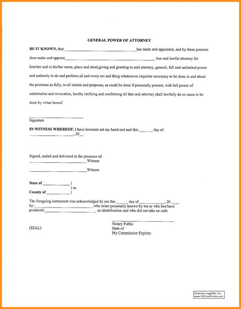 letter of power of attorney template 6 sle general power of attorney form plan