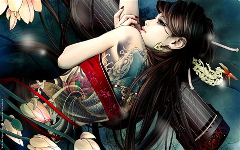 yakuza tattoo hd wallpaper girl brunette koi tattoo wallpapers girl brunette koi