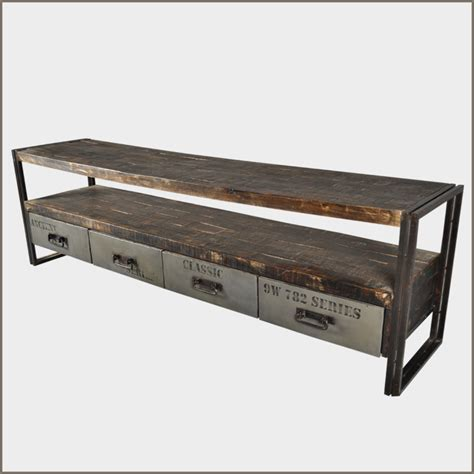 Foyer Console Table Industrial Iron Reclaimed Wood Rustic Drawer Entry Way Foyer Console Table