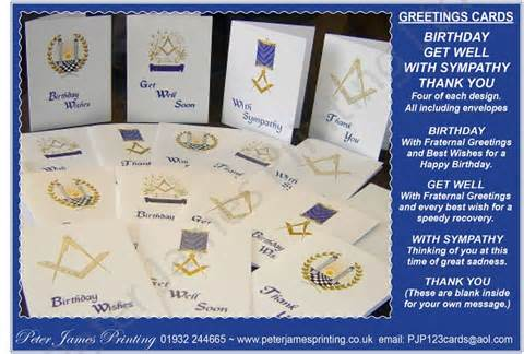 masonic greeting cards by peter james printing ltd