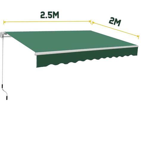 2m awning 2 5 x 2m manual awning canopy garden patio sun shade
