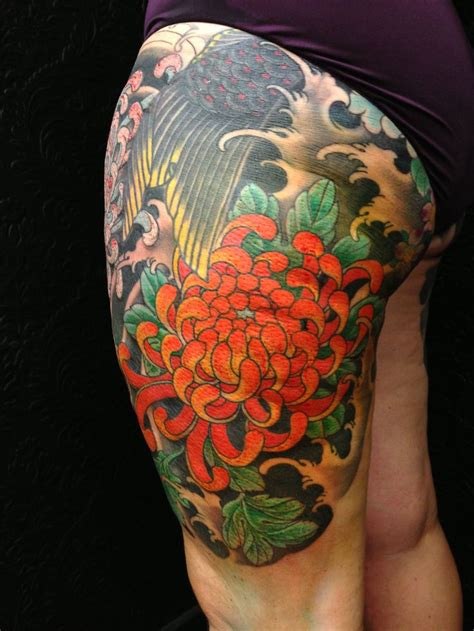kiku tattoo japanese kiku leg by adam craft the tattooed