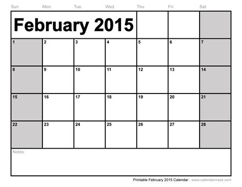 Feb 2014 Calendar February 2015 Calendar Free Large Images