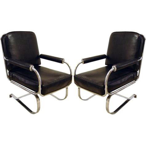 Chrome Furniture by Pair American Deco Springer Chairs For Lloyd Modernism