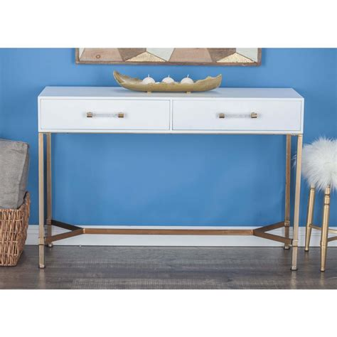 Modern White Console Table With Drawers by Home Decorators Collection Hamilton Polar White Console