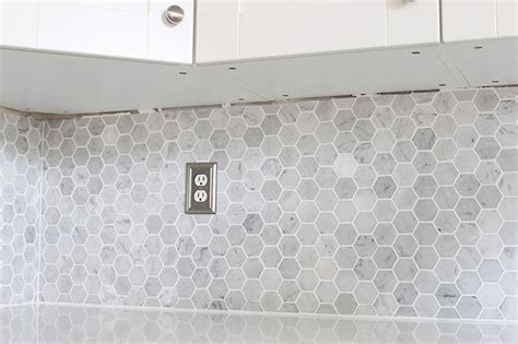 Metallic Kitchen Backsplash by How To Install A Marble Hexagon Tile Backsplash Just A