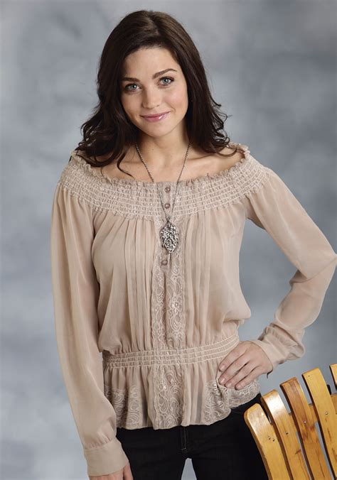 Blouse Peasant roper 174 s taupe and lace sleeve western peasant blouse