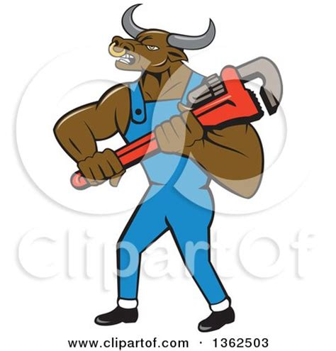 Mascot Plumbing by Clipart Of A Bull Plumber Mascot Holding A