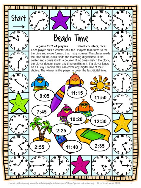 printable board games time fun games 4 learning summer math games freebies and end