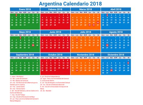 Argentina Calend 2018 Calendario 2018 Argentina Con Feriados Para Imprimir