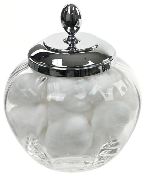 cotton ball jar bathroom round clear crystal glass cotton ball jar contemporary