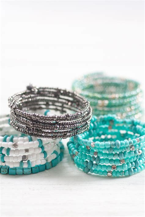 diy beaded coil bracelets bit bauble