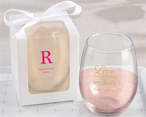Wedding Gift Wine Glasses by Personalized Stemless Wine Glass Wedding Favors My