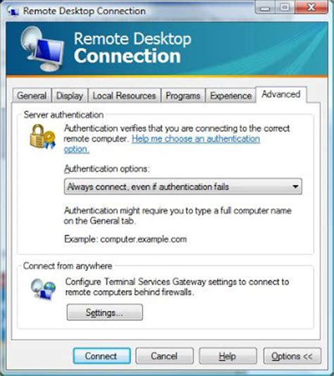 themes disabled remote desktop connection settings how to disable the warning message in windows vista remote