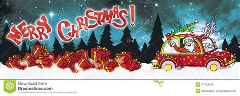 animated santa driving merry banner with santa claus driver and gifts stock illustration illustration of