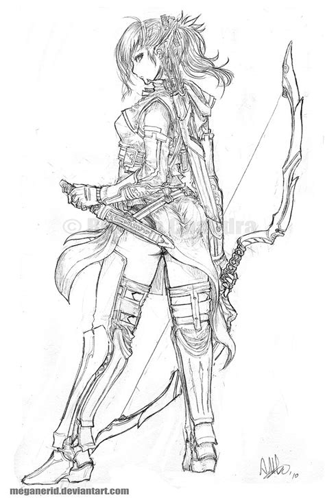 elf archer coloring pages elven ranger aniera by meganerid on deviantart