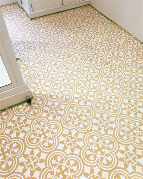 tile floor template stencils give an vinyl floor a budget friendly new