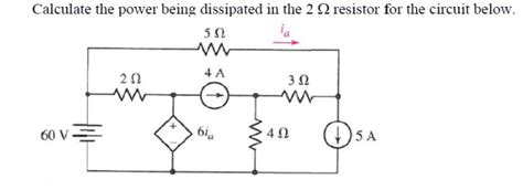 determine the power dissipated by the 40 ohm resistor calculate the power being dissipated in the 2 ohm chegg
