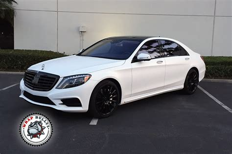 white wrapped mercedes s550 wrapped in satin white wrap bullys