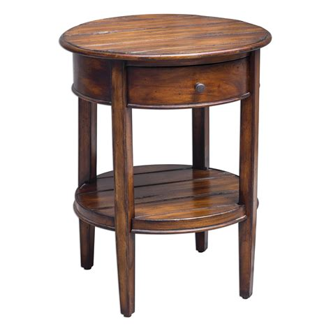Round Accent Table With Drawer | ranalt round deep grained mahogany accent table with