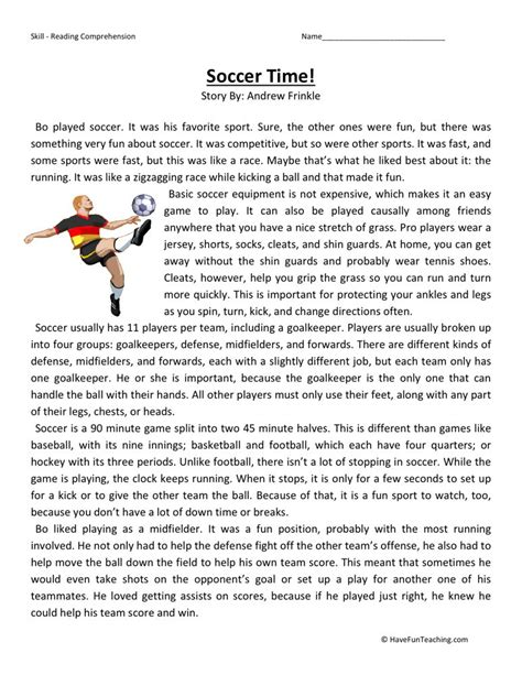 Reading Comprehension Worksheets For 6th Grade by Reading Comprehension Worksheet Soccer Time