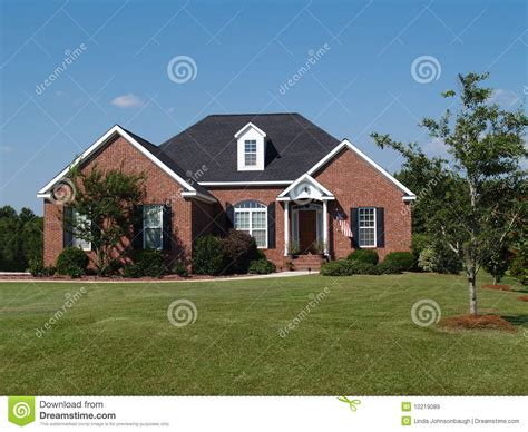 one story one story brick residential home royalty free stock