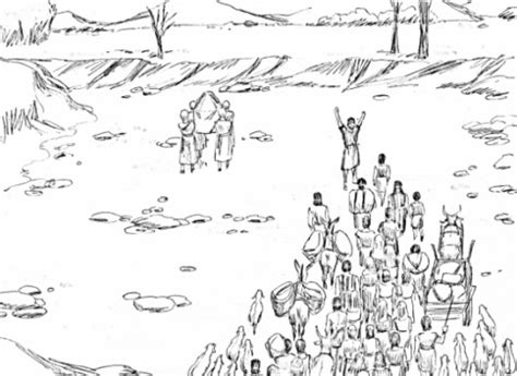 coloring page crossing the jordan river joshua judges ruth bible study for kids
