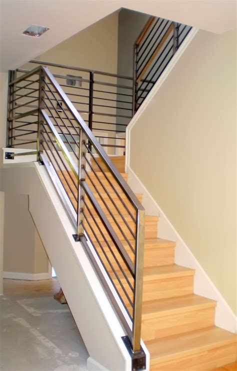 banisters and handrails modern neutral wooden staircase with minimalist steel