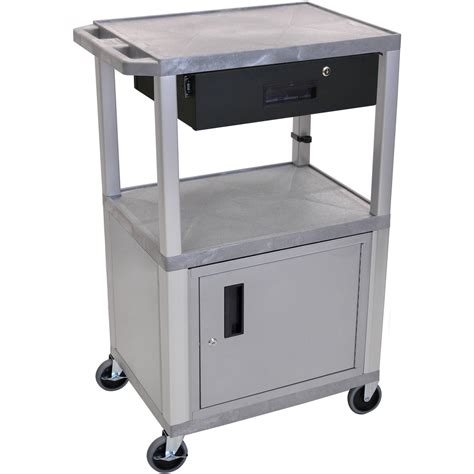luxor cart with locking cabinet luxor 42 quot a v cart with 2 wt42gyc4 n wtd b h photo video