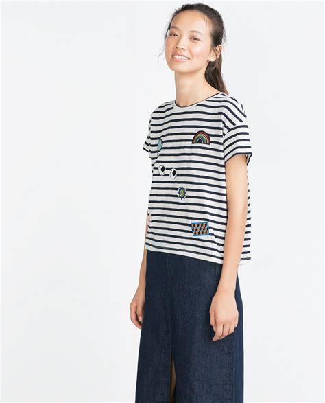 Preloved Zara Tshirt zara t shirt with patches in blue lyst