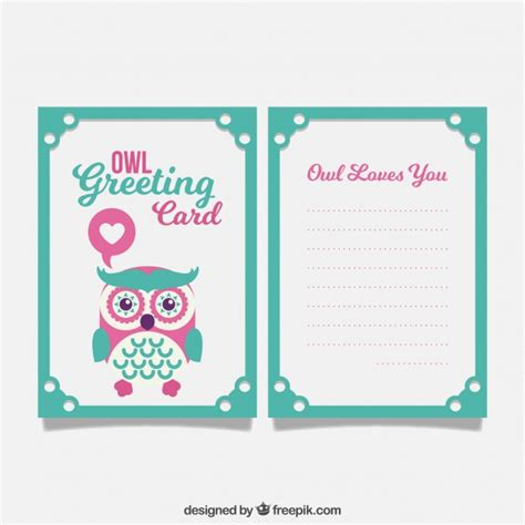 greeting card template with cute owl vector free download green and pink greeting card with cute owl vector free