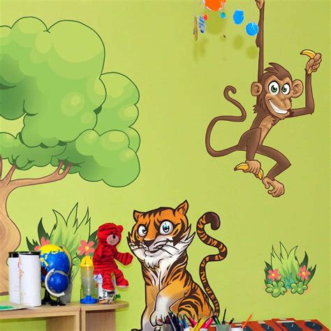 childrens animal wall stickers childrens jungle animals wall stickers by the binary box